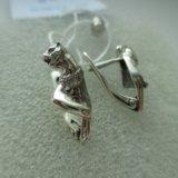 """Серьги """"пантера"""" из серебра 925 пробы с фианитами. Фото 1."""