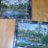 Картины из нефрита 2шт. Фото 1.