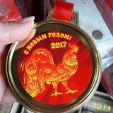 Медаль на ленте символ года 2017 петух. Фото 2. Санкт-Петербург.