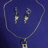 Украшение цепочка с подвеской и сережки. Фото 1.
