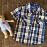 Рубашка в клетку с коротким рукавом . размер 92. Фото 1.
