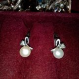 Серьги серебряные с жемчугом. Фото 1. Смоленск.