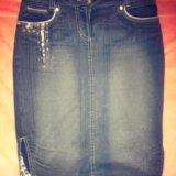 Юбка-карандаш джинсовая (по колено) 46 р. Фото 1.