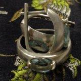 Серьги и кольцо (серебро)аквамарин. Фото 1.