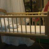 Кроватка люлька, матрац, бортики, постель. белье. Фото 1.