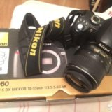 Професс-й фотоаппарат nikon d60 kit 18-55 vr б/у. Фото 4. Москва.