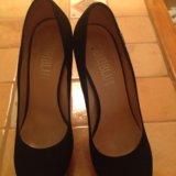 Туфли замшевые черные. Фото 1.