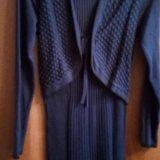 Платье трикотажное темно синего цвета. Фото 1. Омск.