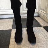 Осенние замшевые чёрные сапоги ботфорты. Фото 1.