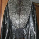 Куртка кожаная.мех-чернобурка. Фото 1.