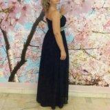 Платье в пол вечернее ( шифон). тёмно- синее. Фото 1.