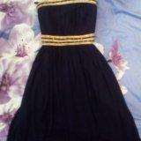 Платье в пол вечернее ( шифон). тёмно- синее. Фото 4.