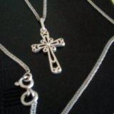 Цепочка серебро925, с крестиком. Фото 1.