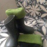 Резиновые сапожки с тёплыми носками. Фото 2.