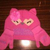 Комплект шапка и рукавички. Фото 1.