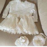 Платье пинетки , повязка. Фото 1.