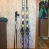 Лыжи, крепления, ботинки, палки. Фото 2. Пущино.