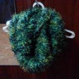 Хомут снуд труба. зеленый мохнатый. новый. Фото 1.