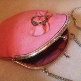 Розовая сумочка (кожа) hm. Фото 4.