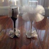 Свадебные бокалы-свадебное украшение. Фото 1.