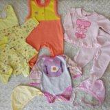 Детские вещи для малышки пакетом от 0-3 мес. Фото 1.