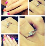 Кольцо из белого золота с бриллиантами. размер 15. Фото 2.