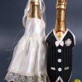 Аксессуары  на свадьбу на бутылки шампанского. Фото 1. Мурино.