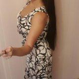 Платье длинное белое черное оригинал gina bacconi. Фото 1.