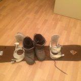 Конплект :сноуборд, сапоги, крепление. Фото 1.