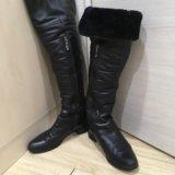 Ботфорты кожаные, натуральный мех. Фото 1. Москва.