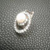 Комплект. серьги серебро с жемчугом и фианитами.. Фото 2.
