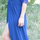 Платье в пол синее. Фото 2.