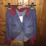 Коротенький джинсовый пиджачок с гипюром 42 р. Фото 1.