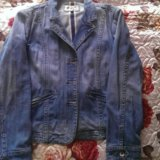 Джинцовая куртка голубая. Фото 1.