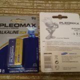 Батарейка крона 9v samsung pleomax alkaline 6lr61. Фото 2. Реутов.