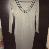 Серое тёплое мягкое платье 44. Фото 1.