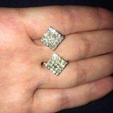 Новые золотые серьги 5.72 гр брилл 1.4 ct. Фото 1.