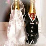 Одежда на шампанское свадебное украшение. Фото 1.