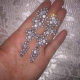 Серебрянные серьги , камни сваровски. Фото 1.
