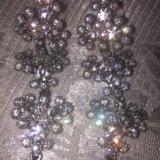 Серебрянные серьги , камни сваровски. Фото 3.