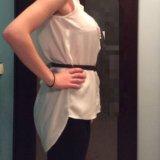 Белая рубашка с открытой спиной + ремешок. Фото 1.