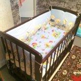 Детская кроватка + матрас + бортики. Фото 3.