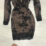 Платье чёрное  в пайетках. Фото 3.