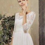 Греческое кружевное свадебное платье с рукавами. Фото 2. Москва.