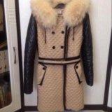 Зимнее пальто из эко-кожи. Фото 1.