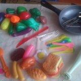 Детский набор для кухни . бутерброды.фрукты и овощ. Фото 1.