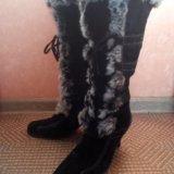 Сапоги зимние натуральная замша-мех. Фото 2. Кострома.