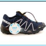 Кроссовки salomon speedcross 3 синие с белым. Фото 4.