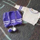 Вязанный набор( кофта, жилетка, штанишки, берет). Фото 1. Саратов.