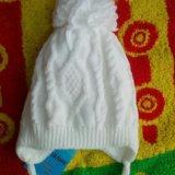 Новый комплект. шапка, варежки, шарфик. до 6 месяц. Фото 4.